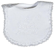 Raindrops 6147F Raindrops -My Godfather Loves Me- Embroidered Bib, Lace