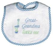 Raindrops 6737B Raindrops -Great-Grandma Loves Me- Embroidered Bib, Blue