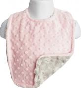 Lil Cub Hub BPDSR Reversible & Adjustable Minky Bib - Pink Dot with Silver Rosebud Swirl