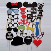 Bhbuy 31pcs DIY Party Masks Photo Booth Props Moustache on a Stick Wedding Party Favour