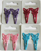4 Packs Glittery Sparkly Butterfly Shape 4cm Hair Sleepies Clips Accessories and Party Bag Fillers
