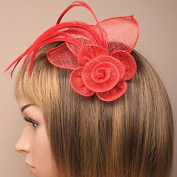 Red mesh net flower fascinator with feathers on a beak clip and brooch pin