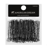 American Dream Wavy Bobby Pins, Black 2-inch/ 5 cm - Pack of 100