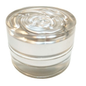 Perfectos Pack of 12 Silver Rose Round lid 5 ml Acrylic Clear Empty Container Cosmetic