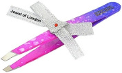 Jewel of London Stainless Steel Professional Precision Slanted Tip Tweezers (9.5 cm Pink and Purple Raindrop Lacquer Finish). Certified High Quality Construction, Precise and Functional.