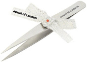 Jewel of London Stainless Steel Professional Precision Pin-Point Tip Splinter Tweezers (9.5 cm). Certified High Quality Construction.