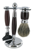 Heavy Mach 3 Shaving Set (Brown) with Stand & Badger Brush - Fantastic Gift Idea