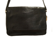 Genuine Black Leather Messenger Bag / 33cm Laptop Compatible