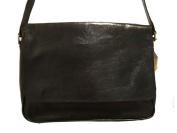 Genuine Black Leather Messenger Bag / 33cm Laptop Compatible
