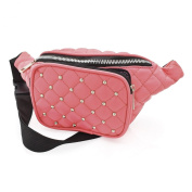 Ladies Stylish Peach Padded Studded Bum Bag