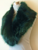 New DARK GREEN Gorgeous Fluffy Faux Fur Collar Stole Wrap Neck Warmer Scarf