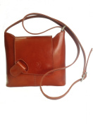 Stylish Genuine Italian Leather Cognac Messenger Bag, Cross Body Bag, Shoulder Bag or Handbag