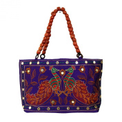 Gujrati Peacock Zari Sequins Embroidered Semi Silk Party Hand Bag