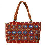 Jaipuri Zari Sequins Floral Embroidered Party Wear Semi Silk Hand Bag