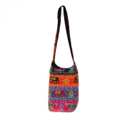 Beautiful Elephant Aari Embroidered Cotton Jhola Shopping Bag