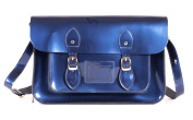 SR0074 38cm Blue Metallic Magnetic Snap Satchel - Patent Blue Leather Small Fashion Bag