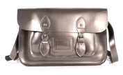 SR0074 38cm Grey Metallic Magnetic Snap Satchel - Patent Grey Leather Small Fashion Bag