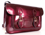 SR0074 38cm Purple Metallic Magnetic Snap Satchel - Patent Purple Leather Small Fashion Bag