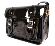 SR0074 28cm Black Metallic Magnetic Snap Satchel - Patent Black Leather Small Fashion Bag