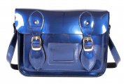 SR0074 28cm Blue Metallic Magnetic Snap Satchel - Patent Blue Leather Small Fashion Bag