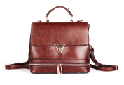 Hoxis Multifunction Vintage Glossy Faux Leather Satchel Womens Backpack