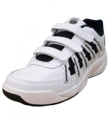 K-Swiss Optim II Omni Strap Boys Leather Tennis Velcro Trainers Shoes white
