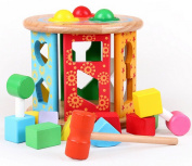 DEHANG Funky Fun Colourful Kid Toys Wooden Shape Rolling Sorter Sorting Cube