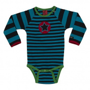 Villervalla Striped Long Sleeve Baby Body- Dark Blue/Black - Age 4-6 mo