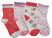 4 pairs of Cotton Baby Girls Socks Age 0-6 Months