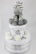 Unisex Two Tier Nappy Cake with Cute Zebra New Born Baby Shower Gift