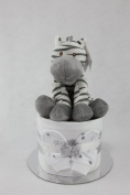 Neutral Single One Tier Unisex Nappy Cake with Cute Zebra Baby Shower Maternity Gift