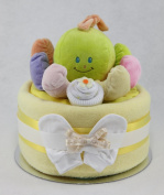 Large Single One Tier Unisex Lemon Nappy Cake with Musical Octopus Baby Shower Maternity Gift
