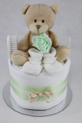Neutral Single One Tier Unisex Mint Green Nappy Cake Baby Shower Maternity Gift
