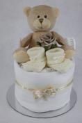 Neutral Single One Tier Unisex Cream Nappy Cake Baby Shower Maternity Gift