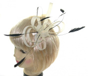 Cream Multi looped fascinator with black shaped coq feathers for special occasions