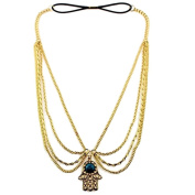 Golden Alloy Turquoise Hand Shape Drop Chain Headdress