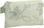 Vagabond Diva White Faux Leather Cosmetic Toiletries Bag