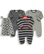 The Essential One - Pack of 3 Navy Blue Sleepsuits/baby grows Newborn. ESS15