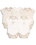 The Essential One - Unisex Pack of 5 Baby Bodysuits / Vests ESS40