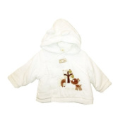 Gorgeous Padded Baby Cord Coat With Cute Little Fawn Applique Detail And Warm Fleece Lining - Winter White Size 3-6Mths