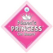 Nana's Princess On Board Car Sign, Nana, Nan, Car Sign, Baby On Board Sign,Baby on board, Novelty Car Sign, Baby Car Sign