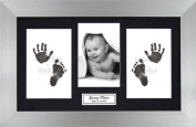 Anika-Baby BabyRice Baby Hand and Footprints Kit includes Black Inkless Prints/ Pewter Frame with Black Mount Display