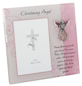 Girls Pink Glass Christening Angel Photo Frame