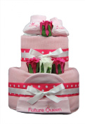 2 Tier Little princess and Future Queen Nappy Cake for baby girl