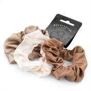 Set of 3 Brown Tones Satin Feel Hair Scrunchies Bobbles Elastic Hair Bands