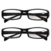 Southern Seas 2 Pairs (Black Frame) Womens Mens Durable Reading Glasses Spectacles Strength +200