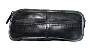 Black Leather Double Glasses Pouch / Case - Spectacles , Sunglasses