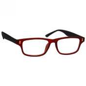 UV Reader Near Sighted Distance Glasses For Myopia Rubberized Red Black -2.50 Strength Mens Womens Inc Case UVMR033