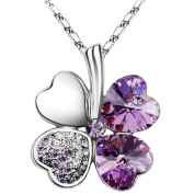 Elements Crystal Four Leaf Clover Pendant Necklace 46cm in Lilac Purple