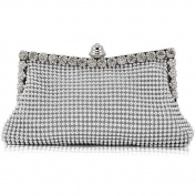 Outdoortips Silver Sparkly Diamante Crystal Satin Evening Wedding Clutch Purse Bag